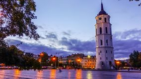 Vilnius Lithuania Cathedral square, timelapse stock video footage