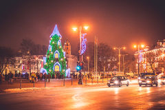 Vilnius Lithuania, Christmas time. Cathedral square Royalty Free Stock Photo