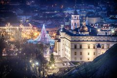 Vilnius, Lithuania: Christmas tree and decorations in Cathedral Square. Aerial top view stock image