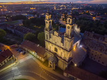 Vilnius, Lithuania: Church of the Ascension at night Stock Photos