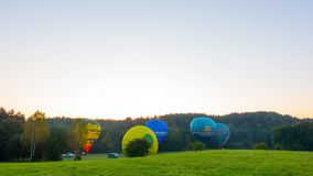 Hot air balloons soar from a green glade at sunrise, time-lapse