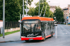 Vilnius, Lithuania. City Black Red Trolleybus Riding On Route Number Seventeen To Zirmunai District. Stock Photos