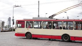 Vilnius, Lithuania. City Trolleybus Riding On Route Number Seventeen To Zirmunai District. Vilnius, Lithuania - April 19, 2018: City Trolleybus Riding On Route stock video footage
