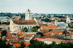 Vilnius, Lithuania. Cityscape of Vilnius, Lithuania from Bell Tower and high angle Royalty Free Stock Images