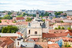 Vilnius, Lithuania. Cityscape of Vilnius, Lithuania from Bell Tower and high angle royalty free stock image