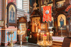 Vilnius, Lithuania. Close The Left Side Of Iconostasis In Christian Royalty Free Stock Images