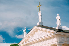Vilnius Lithuania. Close Pediment Of Cathedral Basilica Of St. Stanislaus Stock Photo