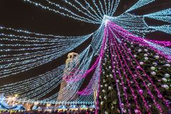 Christmas tree in Vilnius and Christmas Market royalty free stock image