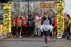 Runners on start of traditional Vilnius Christmas race royalty free stock images