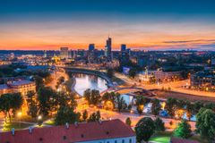 Vilnius, Lithuania, Europe. Sunset Cityscape. Modern Office Buildings Stock Photos