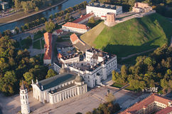 Vilnius, Lithuania. Gothic Upper Castle. Cathedral and Palace of the Grand Dukes of Lithuania. Old Town of Vilnius, Lithuania. Aerial view from piloted flying Royalty Free Stock Images