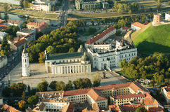 Vilnius, Lithuania. Gothic Upper Castle. Cathedral and Palace of the Grand Dukes of Lithuania. Old Town of Vilnius, Lithuania. Aerial view from piloted flying Stock Photography