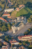 Vilnius, Lithuania. Gothic Upper Castle. Cathedral and Palace of the Grand Dukes of Lithuania. Old Town of Vilnius, Lithuania. Aerial view from piloted flying Stock Photos