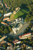 Vilnius, Lithuania. Gothic Upper Castle. Cathedral and Palace of the Grand Dukes of Lithuania. Old Town of Vilnius, Lithuania. Aerial view from piloted flying Stock Images