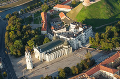 Vilnius, Lithuania. Gothic Upper Castle. Cathedral and Palace of the Grand Dukes of Lithuania. Old Town of Vilnius, Lithuania. Aerial view from piloted flying Stock Image