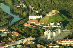 Vilnius, Lithuania. Gothic Upper Castle. Cathedral and Palace of the Grand Dukes of Lithuania. Old Town of Vilnius, Lithuania. Aerial view from piloted flying Royalty Free Stock Photos