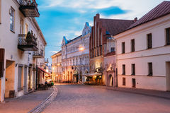 Vilnius Lithuania. Illuminated Ausros Vartu Street Of Old Town, Royalty Free Stock Images
