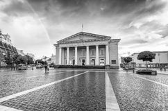 VILNIUS, LITHUANIA - JULY 9, 2017: City sunset colors in Town Ha. Ll Square. Vilnius attracts 3 million tourists annually Royalty Free Stock Images