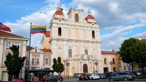 VILNIUS, LITHUANIA - JUNE 5, 2018: Church of St. Casimir is a Ro. Man Catholic church in Vilnius` Old Town, close to the Vilnius` Town Hall. It is the first and stock photo