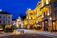 Vilnius Lithuania. Lithuanian National Philharmonic Society Building In Bright Evening Illumination Royalty Free Stock Photos