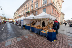 VILNIUS, LITHUANIA - MARCH 4, 2017: Kaziukas Market in Vilnius. Stock Images