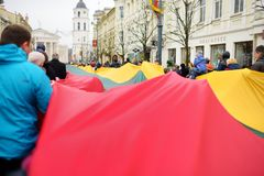 VILNIUS, LITHUANIA - MARCH 11, 2017: People taking part in a festive events as Lithuania marked the 27th anniversary of its indepe. VILNIUS, LITHUANIA - MARCH 11 Royalty Free Stock Image