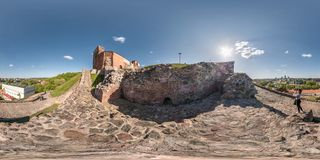 VILNIUS, LITHUANIA - MAY, 2019: Full spherical seamless panorama 360 degrees angle view from Gediminas Tower on hill in old town stock photos
