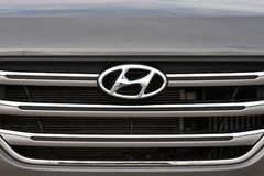 Hyundai logotype on a car. Vilnius, Lithuania - May 18: Hyundai logotype on a car on May 18, 2018 in Vilnius Lithuania. Hyundai is a South Korean Multinational Royalty Free Stock Photos