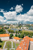 Vilnius, Lithuania. Modern City And Part Of Old Town. Behind New Arsenal At Northern Foot Of Castle Hill, One Can Spot Royalty Free Stock Photography