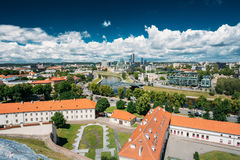 Vilnius, Lithuania. Modern City And Part Of Old Town. Behind New Arsenal At Northern Foot Of Castle Hill, One Can Spot Stock Photos