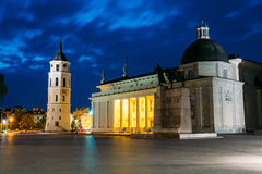 Vilnius, Lithuania. Night Or Evening View OF Cathedral Basilica Stock Photos