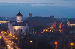 Vilnius (Lithuania) at night. Orthodox Cathedral Royalty Free Stock Image