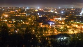 Vilnius, Lithuania night time lapse stock video footage