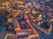 VILNIUS, LITHUANIA - odgórny widok z lotu ptaka Vilnius stary miasto zdjęcie royalty free