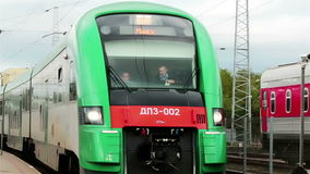 Vilnius. Lithuania. - Railway station. 31 August 2014. Arrival of the train at the station. Arrival of the train at the station stock video footage
