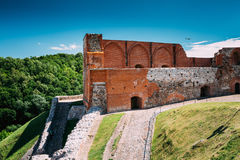 Vilnius, Lithuania. Remains Of Keep Of Upper Castle In Gediminas Hill In Summer Day. Vilnius, Lithuania. The Remains Of The Keep Of The Upper Castle In Gediminas stock photography