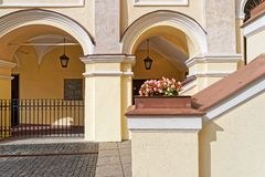 Arch gallery at Grand courtyard of Vilnius University. Vilnius, Lithuania - September 3, 2015: Arch gallery at Grand courtyard of Vilnius University, Vilnius Stock Image
