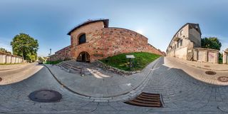 Full seamless 360 degrees angle view panorama near bastion of city wall decorative medieval royalty free stock image