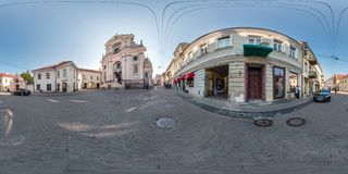 VILNIUS, LITHUANIA - SEPTEMBER 2018, Full seamless 360 degrees angle view panorama in old city with beautiful decorative medieval royalty free stock photo