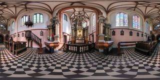 VILNIUS, LITHUANIA - SEPTEMBER, 2018: full seamless spherical panorama 360 by 180 degrees angle view interior gothic catholic royalty free stock images