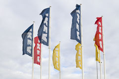 VILNIUS, Lithuania - September 18, 2016: IKEA flags against sky at the Ikea Store. is the world's largest furniture Royalty Free Stock Photo