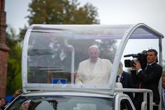 Pope Francis visited in Lithuania royalty free stock image