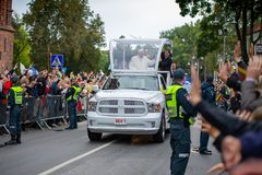 Pope Francis visited in Lithuania stock images