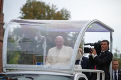 Pope Francis visited in Lithuania stock photos