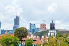 View of Vilnius with Gediminas` Tower on Gediminas Hill. Vilnius, Lithuania - September 28, 2018: View of Vilnius with Gediminas` Tower on Gediminas Hill royalty free stock image