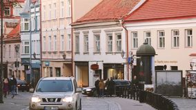 Vilnius, Lithuania. View Of Pilies Street Of Old Town In Autumn Day. Vilnius, Lithuania - September 29, 2017: View Of Pilies Street Of Old Town In Autumn Day stock video