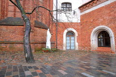 VILNIUS, LITHUANIA: Statue of the Virgin Mary at the entrance of Bernardine Church Royalty Free Stock Photography