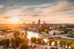 Vilnius, Lithuania. Sunset Sunrise Dawn Over Cityscape In Evening. Summer. Beautiful View Of Modern Office Buildings Skyscrapers In Business District New City royalty free stock images