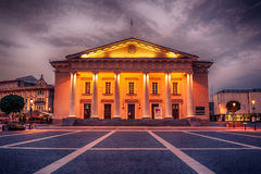 Vilnius, Lithuania: the Town Hall, Lithuanian Vilniaus rotuse, in the square of the same name. In the sunrise Royalty Free Stock Photo