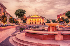 Vilnius, Lithuania: the Town Hall, Lithuanian Vilniaus rotuse, in the square of the same name. In the sunrise Stock Photography